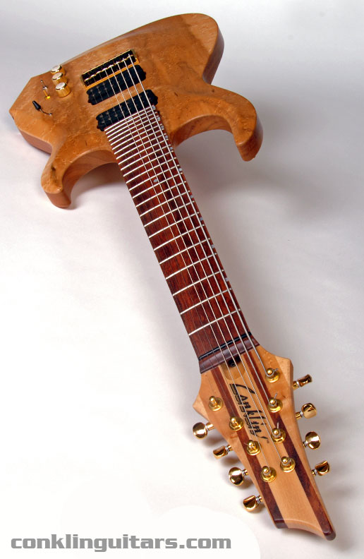 A 24 fret Bubinga fingerboard provides plenty of range for this Sidewinder 8 string guitar